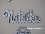 Nápis jméno Natálka v. 10x30cm PATINA hnědo-bílá