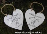 Svatební srdce dekor 20x20cm Pusu.. - hnědo-bílá patina-CENA ZA KS.