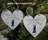 Svatební srdce dekor 18x18cm obr.nevěsta+ženich - hnědo-bílá patina-CENA ZA KS.