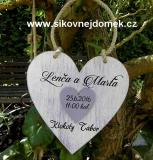 Svatební srdce pro novomanžele 18x18cm fialovo-bílá patina