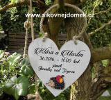Svatební srdce pro novomanžele 18x18cm hnědo-bílá patina