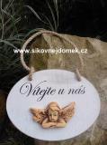 Cedulka Vítejte u nás+keramika andílek- 16x12cm