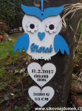 3D sova jméno narození modrá barva