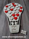 Svatební balón nevěsta+ženich-16přír.srdíček+10 červených srdíček - 34x21cm