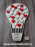 Svatební balón +16přír.srdíček+10 červených srdíček- 34x21cm