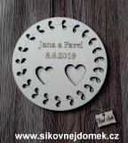 Podtácek svatební vyř.listy-přírodní pr. 16cm