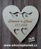 Srdce svatební podtácek ptáčci přírodní - 17x17cm