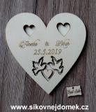 Srdce svatební podtácek holoubci přírodní - 17x17cm