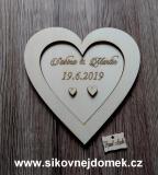 Srdce svatební na snubní prstýnky vel. cca 16x16cm