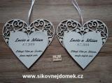 Svatební srdce dekor vyřezávané 18x18cm-cena z ks