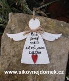 3D anděl Bůh stvořil-babička- v.14x17cm