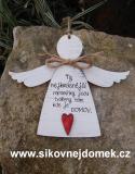 3D anděl Ty nejkrásnější- v.18x21,5cm