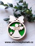 Vánoční ozdoba koule v.6,7x5cm, anděl Veselé Vánoce - zelená