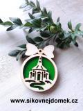 Vánoční ozdoba koule v.6,7x5cm, kostel - zelená