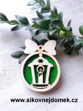 Vánoční ozdoba koule v.6,7x5cm, lucerna - zelená