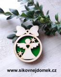 Vánoční ozdoba koule v.6,7x5cm, anděl č.1 srdce - zelená