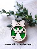 Vánoční ozdoba koule v.6,7x5cm, anděl č.3 srdce - zelená