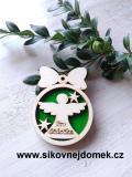 Vánoční ozdoba koule v.6,7x5cm, anděl pro dědečka - zelená