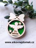 Vánoční ozdoba koule v.6,7x5cm, anděl pro tatínka - zelená