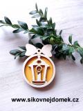 Vánoční ozdoba koule v.6,7x5cm, lucerna - žlutá
