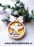 Vánoční ozdoba koule v.6,7x5cm, anděl pro babičku - žlutá