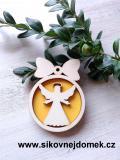Vánoční ozdoba koule v.6,7x5cm, anděl čistý č.3 - žlutá
