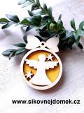 Vánoční ozdoba koule v.6,7x5cm, anděl čistý č.1 - žlutá