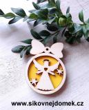 Vánoční ozdoba koule v.6,7x5cm, anděl č.3 srdce - žlutá