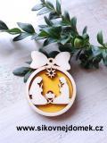 Vánoční ozdoba koule v.6,7x5cm, Josef a Marie - žlutá