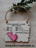 Cedulka Opakuj - 14x11cm - hnědo-bílá patina-růžové srdce