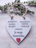 Cedulka moje maminka - 14x14cm, hnědo-bílá patina,červené srdce
