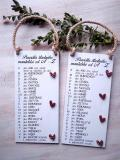 Cedulka Pravidla šťastného manželství. 28,5x19cm -hnědo-bílá