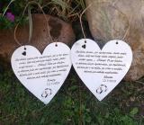 Svatební srdce dekor 20x20cm,prstýnky- hnědo-bílá