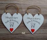 Svatební srdce dekor 18x18cm děkuji za syn,dceru..červené srdíčko- hnědo-bílá patina,cena za ks