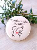Svatební placka, button se špendlíkem, pr.5cm vzor č.9322,podklad bílá