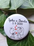Svatební placka, button se špendlíkem pr.5cm vzor č.1,podklad bílá