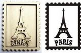 Razítko překližka Paris+eifelova věž ve známce cca 10,5x7,5cm