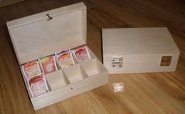 Døevìná krabièka na èaj 8 pøihrádek