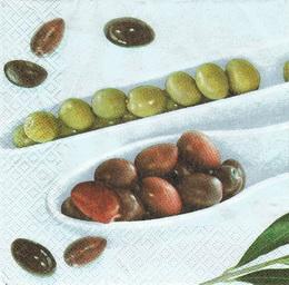 OL 011 - ubrousek 33x33 - olivy na bílé misce