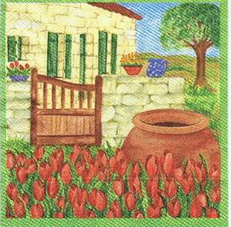 ZA 038 - ubrousek 33x33 - tulipány u domku