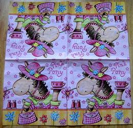 DE 003 - ubrousek 33x33 - pink pony