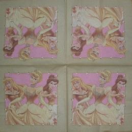 DE 023 - ubrousek 33x33 - 3 princezny ve zlatém rámu