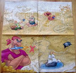 DE 029 - ubrousek 33x33 - pirát+mapa+poklad