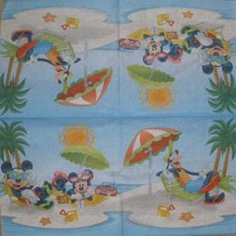 DE 032 - ubrousek 33x33 - mickey mouse na pláži
