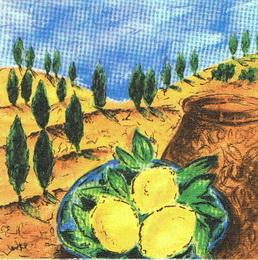 OZ 044 - ubrousek 33x33 - citrony v krajinì