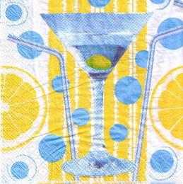 KM 028 - ubrousek 33x33 - modrý nápoj