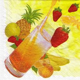 KM 029 - ubrousek 33x33 - nápoj s jahodou