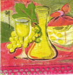 KM 034 - ubrousek 33x33 - malované víno