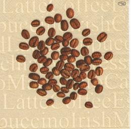 KC 056 - ubrousek 25x25 - zrnka kávy espressso latte