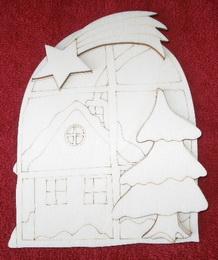 3D výøez okno s domkem a hvìzdou v.14,5x12cm